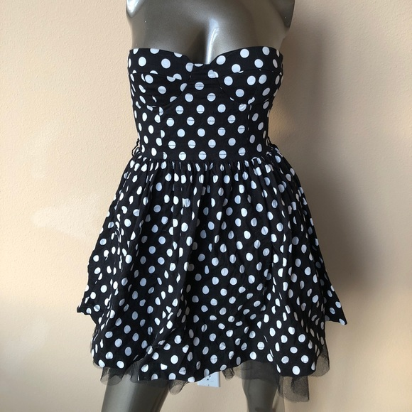 Papaya Dresses Strapless Black And White Polka Dot Dress Poshmark